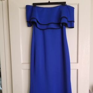 Blue ruffle off shoulder dress (gown) bodycon